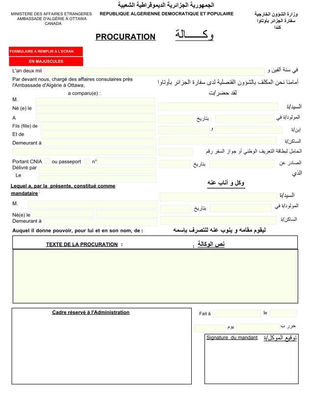 CONSULAT TÉLÉCHARGER ALGERIE PROCURATION
